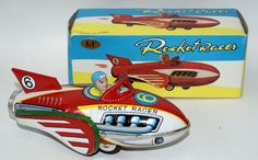 Vintage Tin Litho Friction #6 ROCKET RACER Space Ship with Siren in Original Box