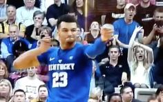 After scoring 21 points in the first half, Jamal Murray debuts his new move, THE BOW AND ARROW.   Coming soon to a March Madness promo near you.... After the first twenty minutes of play, Kentucky is up by three, thanks in large part to Jamal Murray. Murray scored 21 of UK's 39 points in the first half,