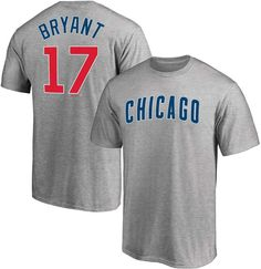 Majestic Men's Kris Bryant Heathered Gray Chicago Cubs Logo Official Name & Number T-Shirt