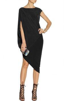 Black stretch-silk crepe and stretch-jersey Draped sleeve, paneled, asymmetric hem Slips on 94% silk, 6% elastane; combo: 94% viscose, 6% spandex Dry clean