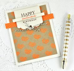 Autumn Hills Revisited: Happy Autumn Birthday Card by Dawn McVey for Papertrey Ink (October 2014)