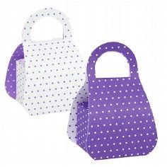 Originelle Geschenkverpackung um kleine Gastgeschenke zu verpacken. Kleine Boxen im Retro-Look passen perfekt zu Deiner lila Hochzeitsdekoration.