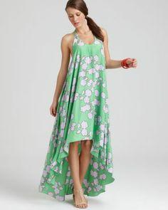 Beach Printed High/Low Silk Dress