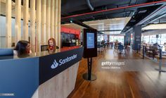 View from the reception of Santander branch in Amoreiras that includes the Work Café Santander Bar during its inauguration day on March 2019 in Lisbon, Portugal. Santander Bank inaugurated, in. Santander Bank, Work Cafe, Lisbon, Reception, Chile, Future, Home Decor, Future Tense, Chili