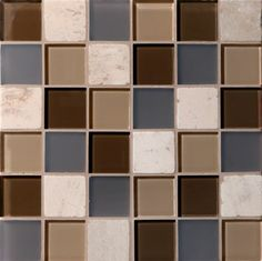 """Mannington 2"""" x 2"""" Glass & Stone Mosaics- Java Blend. Glass mosaics bring these contrasts to life and have emerged as a dominant force in tile accessories. Our new introductions offer a unique take on this trend and feature a combination of clear and frosted glass, and natural stone in three versatile and fashion-forward blended color offerings."""