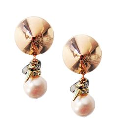 Clip on earrings with light rose pearls, rhinestones, brass and charms. Boho chic earrings, Boho chic jewelry  #silver #boho #pearls #studs #crystal #crosses #chains #rock #earrings #brass