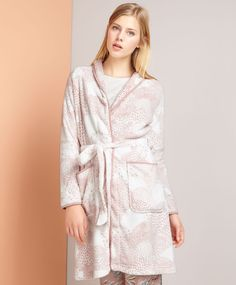Pink dressing gown with lace trim - OYSHO