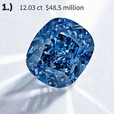 TOP 6 record-breaking diamonds for 2015 - the 12.03ct Blue Moon diamond went under the hammer at @sothebysauction Geneva, selling to billionaire Joseph Lau for a world record-breaking $48.5 million, making it the most expensive blue diamond in the world. #bluediamond #diamonds #recordbreaking #luxury #jewelry #sothebys #auction #beautiful #blue