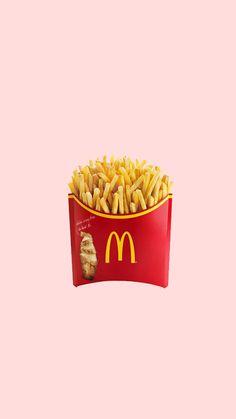 minimalist mcdonald's fries pastel pink iphone wallpaper