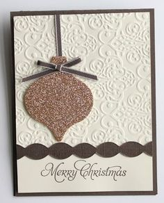 Lacy brocade embossing folder and champagne glitter paper. Very pretty and simple. Cricut Christmas Cards, Chrismas Cards, Diy Holiday Cards, Create Christmas Cards, Christmas Card Crafts, Xmas Cards, Cards Diy, Mery Chrismas, Spellbinders Cards
