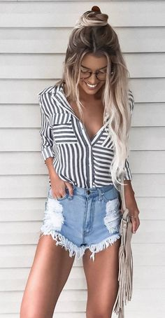 #fall #outfits women's black and white stripe dress shirt