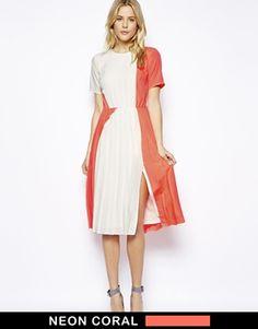 Image 1 ofASOS T-shirt Pleated Midi Dress