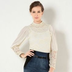 Buy 'YesStyle Z – Balloon Sleeve Beaded Neckline Lace Blouse' with Free International Shipping at YesStyle.com. Browse and shop for thousands of Asian fashion items from Hong Kong and more!