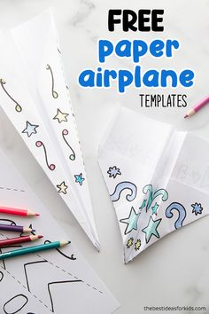 FREE PAPER AIRPLANE TEMPLATES 🛩- color your own paper airplanes with step-by-step instructions for folding! An easy tutorial for how to make paper airplanes. Fun Projects For Kids, Paper Crafts For Kids, Craft Activities For Kids, Printable Paper Crafts, Paper Airplane Steps, Paper Airplane Folding, Airplane Kids, Airplane Crafts, Airplanes For Kids
