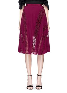 SELF-PORTRAIT 'Symm' lace insert pleated chiffon skirt. #self-portrait #cloth #skirt