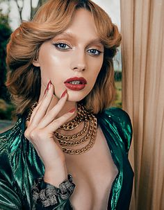 Niki Hajdu and Saxon Dunworth by Shxpir for Harper's Bazaar China June 2014 Strawberry Blonde, Green Fashion, Harpers Bazaar, Makeup Inspiration, Makeup Ideas, These Girls, Shades Of Green, Lanvin, Editorial Fashion