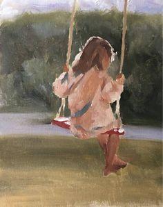 Girl painting Girl Art PRINT Girl on Swing - Art Print - from original painting by J Coates Original Oil Painting or Print Swing Painting, Painting Of Girl, Painting People, Girl Paintings, Watercolor Illustration, Watercolor Paintings, Painting Inspiration, Art Inspo, Art Plastique