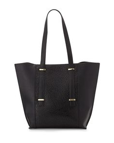 Textured Paneled Slim Tote Bag, Black by Neiman Marcus at Neiman Marcus Last Call.