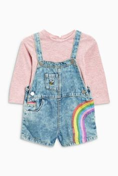 Baby Girls Pink Dungarees with Knee Patches and Kangaroo Pocket
