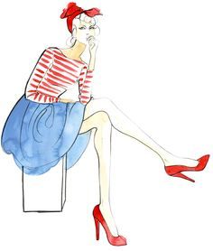 Red stripes Frenchy #fashion #illustration by Angie Rehe