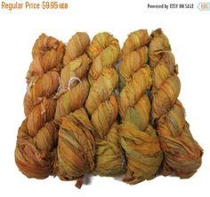 SALE New! Sari Silk Ribbon, 100g , 50 yards , color Golden Yellow