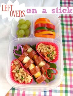 Thai Plum Pork Sausage and Cheese on Skewers, Teriyaki Fried Rice, Bell Pepper Slices, Grapes. Stored in an Easy Lunchbox System.