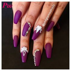 purple nails with nail art