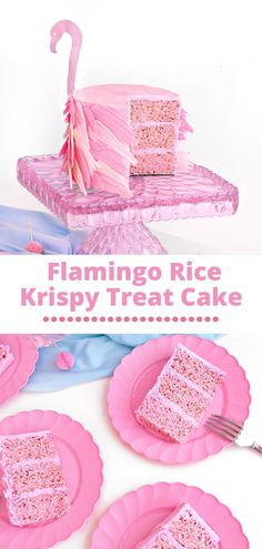 This easy Flamingo Rice Krispy Treat Cake recipe is super fun and will be the hit of any party! Delicious too! Homemade Desserts, No Bake Desserts, Easy Desserts, Dessert Recipes, Best Cake Recipes, Sweet Recipes, Cookie Recipes, Rice Krispie Treats, Rice Krispies
