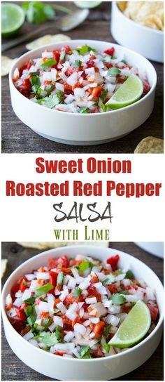 What's the best part of salsa? The Onions. Try this fabulous Sweet Onion and Roasted Red Pepper Salsa With Lime. #OnionsintheRaw
