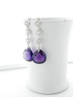 Amethyst Earrings Purple Earrings Cubic Zirconia by EstyloJewelry #EstyloJewelry #amethyst