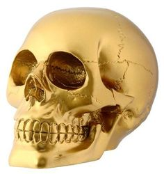 Gold Skull Sculpture