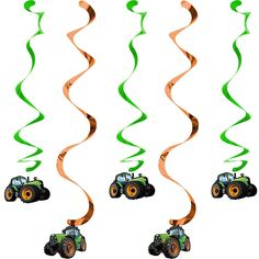 TRACTOR TIME Danglers Hanging Swirls DECORATIONS Birthday Party Supplies Décor