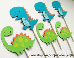 Items similar to Dinosaur Birthday Party Toppers/Centerpieces-Set of 5 on Etsy