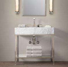Hudson Metal Single Frame Vanity with Italian Carrara Marble - $2395.00