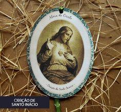 """Santinho Estilo Retrô - Oração de Santo Inácio """"Alma de Cristo""""."""