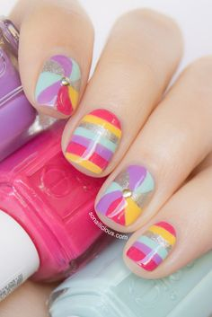 Stripes & Swirls - cute nails. Click for details. #nails #summer #cutenails