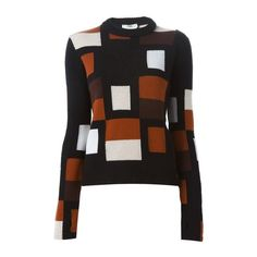 FENDI Geometric Patterned Sweater (€890) ❤ liked on Polyvore featuring tops, sweaters, outerwear, brown, fendi, geometric sweater, brown sweater, geometric tops and geometric print sweater