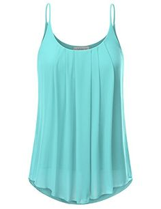 a9de75570c1 JJ Perfection Women s Pleated Chiffon Layered Cami Tank Top TURQUOISE XL   This tank top is designed with a pleated neck line