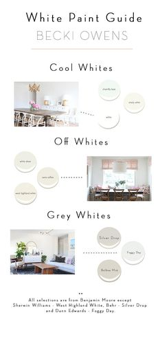 Cool Whites, Off Whites and Gray White Paint Color Ideas