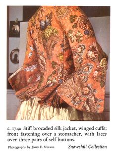 "Snowshill Manor costume collection; Vibrant pink brocade jacket.  Photo from 1988 edition of Nancy Bradfields's  ""Costume in Detail"""