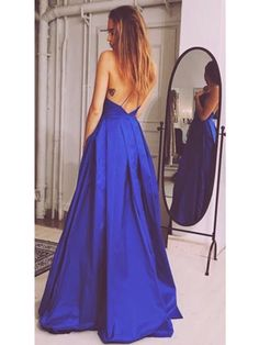 Sexy V-neck Prom Dresses,Long Prom Ball Gown,Evening Dresses,Navy Blue Formal Dresses
