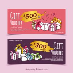 Gift vouchers with hand-drawn presents Free Vector