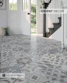 The Orient range of patterned floor tiles are both stylish and hard-wearing, perfect for high traffic areas like hallways and kitchens