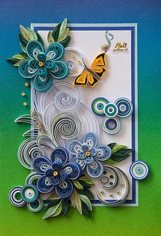 I've seen quilling used on cakes before and I always love it. If I weren't into cake I'd probably be into paper crafts. Neli Quilling, Quilling Butterfly, Paper Quilling Cards, Paper Quilling Flowers, Paper Quilling Tutorial, Quilling Work, Paper Quilling Patterns, Origami And Quilling, Quilled Paper Art