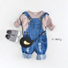B Diary Destroyed Denim Overall
