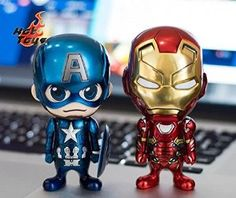 Amazon.com: Hot Toys Captain America Civil War Iron Man XLVI Cosbaby Set of 2 Metallic Ver.: Toys & Games