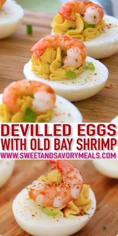Deviled Eggs with Old Bay Shrimp are easy to make and the perfect finger food for parties, potlucks or Easter. Deviled Eggs with Old Bay Shrimp are easy to make and the perfect finger food for parties, potlucks or Easter. Finger Food Appetizers, Appetizers For Party, Appetizer Recipes, Recipes Dinner, Seafood Appetizers, Finger Foods For Party, Christmas Party Finger Foods, Brunch Finger Foods, Summer Finger Foods