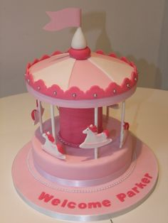 Carousel Merry Go Round Baby Shower Welcome Baby Girl Cake