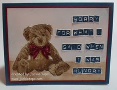 Hand stamped Hungry Bear card
