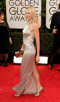 Naomi Watts spotted wearing the Jimmy Choo SLING sandal  to the 71st Annual Golden Globes 2014.